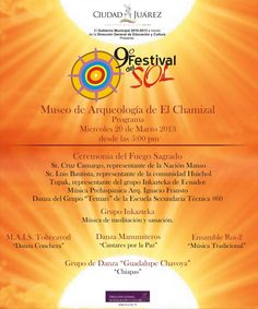 El noveno Festival del Sol continúa el día de hoy en el Museo de Arqueología del Chamizal a partir de las 5 de la tarde.   Aquí el programa.