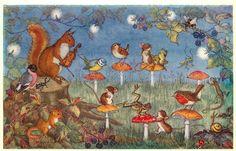 "PK298. ""Musical Chairs"" By Molly Brett Animals Fiddler Mushrooms Postcard uk.picclick.com"
