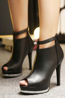 Solid Color Platform Zip Peep Toe Shoes