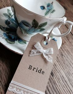 Handmade Rustic Vintage Wedding Place Name Cards Tags / Escort Cards / Favours Kraft Lace Ribbon on Etsy, £1.00