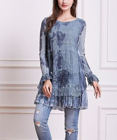 Another great find on #zulily! Blue Watercolor Crochet-Accent Long-Sleeve Tunic #zulilyfinds