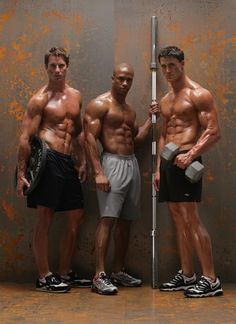 Ultimate inspiration: The hot personal trainer guys at the gym get ready to pump some iron and get you sweaty.