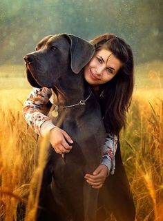 Beautiful pic of Great Dane and its mama. I think portraits with pets are animals Big Dogs, I Love Dogs, Cute Dogs, Dogs And Puppies, Doggies, Corgi Puppies, Giant Dogs, Stunning Photography, Animal Photography
