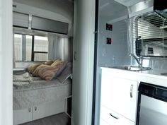 2016 Airstream Sport 16 View from the entrance into the Bed Airstream Sport, Airstream Bambi, Airstream Campers, Airstream Remodel, Vintage Airstream, Travel Center, Camping Glamping, Maximize Space, Jeep Life