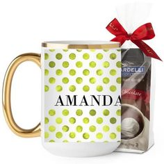 Watercolor Dots Mug, Gold Handle, with Ghirardelli Premium Hot Cocoa, 15 oz, Green