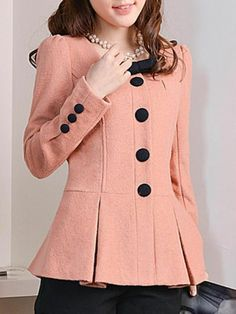 Peplum Wool Coat With Bow Tie