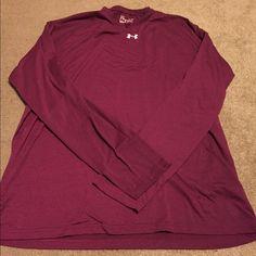 Men's Under Armour- heat gear long sleeve Tshirt Used, men's heat gear Dri fit long sleeve Tshirt- burgundy Under Armour Tops Tees - Long Sleeve