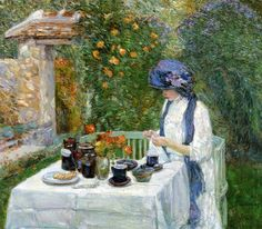artemisdreaming: The Terre-Cuite Tea Set (aka French Tea Garden), 1910  Frederick Childe Hassam ( American Impressionist) Large image: HERE  Detail