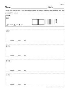This worksheet covers CCSS / MAFS 2.NBT.1.1, Understand that the three digits of a three-digit number represent amounts of hundreds, tens, and ones. (It also reinforces the skill of drawing a quick picture to represent a number.)  Although this worksheet is intended for second graders, it could be used for students who are ready to move on from just determining place value of two-digit numbers.