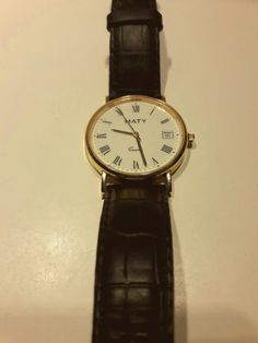 Old Maty  18KT Gold #watch #vintage #style #look #gold #quartz #maty #leather