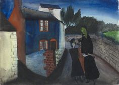 William Scott, [Figures in a Welsh Village], 1945, Watercolour on paper, 28.4 × 39 cm / 11¼ × 15¼ in, Private collection
