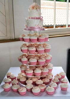 Pearls and rose wedding cupcake tower #cupcakes http://www.wewantcake.co.uk/page_1901025.html