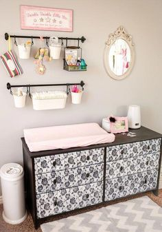 Nursery Changing Table DIY Baby Changing Station is part of Baby room diy - DIY Baby Changing Station is part of Nursery Changing Table How to easily put together a central baby changing station with all baby needs nicely organized and at your fingertips Diy Nursery Decor, Baby Nursery Diy, Baby Room Diy, Baby Bedroom, Baby Room Decor, Baby Boy Nurseries, Diy Baby, Nursery Ideas, Room Ideas