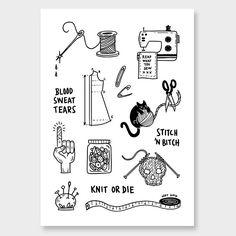 Stitch n' Bitch Art Print by Natasha Vermeulen