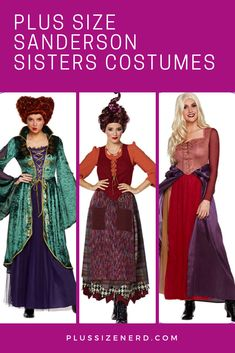 Plus Size Sanderson Sisters Halloween costumes. Winifred, Mary and Sarah included! Sister Halloween Costumes, Halloween Couples, Halloween Nails, Halloween Makeup, Women Halloween, Halloween Projects, Halloween Halloween, Halloween College, Teen Costumes