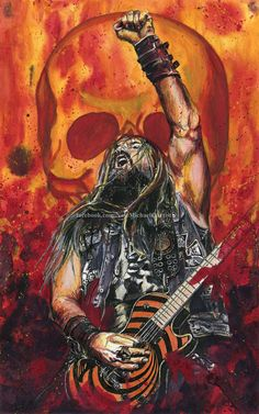 Zakk Wylde - Mixed Media Portrait by NateMichaels Rock Band Posters, Rock Poster, Heavy Metal Art, Black Label Society, Zakk Wylde, Rob Zombie, Guitar Art, Metalhead, Concert Posters
