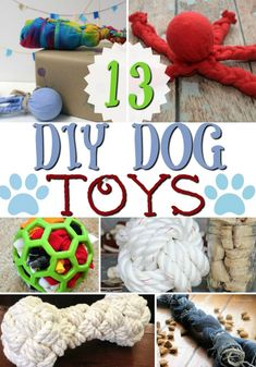 Dogs 13 Homemade DIY Dog Toys that are EASY and Fun to make! - Here are 13 Homemade DIY Dog Toys that will help you dog from becoming bored. Hopefully you can make dog toys out of items you already have around your home Homemade Dog Toys, Diy Dog Toys, Best Dog Toys, Diy Animal Toys, Cool Dog Toys, Toy Diy, Animal Pics, Cat Toys, Kids Toys