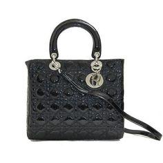 Christian Dior Black Patent Lady Dior Bag