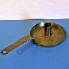 French Vintage Handmade Brass Frying Pan Type Candle Holder