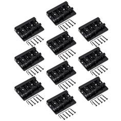 10 set Black Heavy Duty 4 String Bridge Guitar Parts for Bass Guitar Replacement. Item 100% like the picture shown. Grooved base plate keeps saddles in place with little to no side-to-side movement. Mounting Screws and Adjustment Wrench Included. 10 sets. We manufacture all kinds of instrument parts and product The direct model so that our price is very low with high quality. 4 string Bass Guitar Bridge. Package include:. Pls notice the shipping time!! Slotted Barrel Saddles.