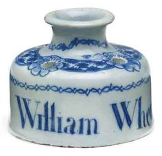 Blue and White Documentary Ink Pot - 1764 Delft, Vintage Pens, Himmelblau, Pottery Making, Lost Art, Blue China, Glazes For Pottery, Bottles And Jars, Writing Instruments