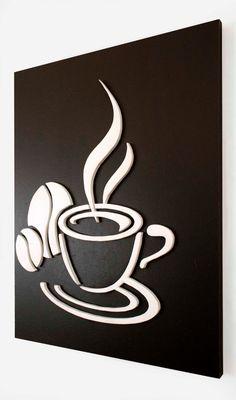 Quadro decorativo para harmonizar as paredes da sala, cozinha ou escritório, feito à mão. Desenho criativo de xícara de café esculpido em relevo no mdf, pintura esmalte com fundo preto e relevo em branco. Acompanha furo para pendurar na parede. 3 meses de garantia.  Medidas: L 45 cm x A 45 cm x C...