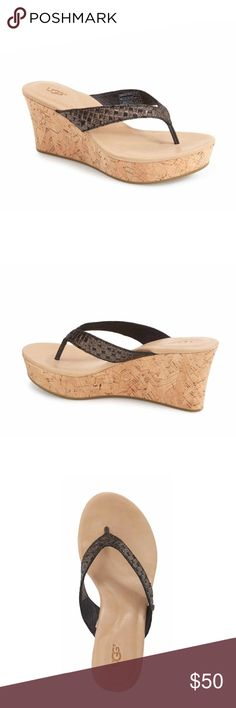 "Natassia Sandal Basket-woven straps add interest to a comfortable thong sandal lifted by a substantial cork wedge and platform and outfitted with a PORON(R)-cushioned footbed for excellent arch support.  Sizing: True to size.  - Thong toe - Lightly padded footbed - Slip-on - Embossed leather - Approx. 3"" wedge heel. 1"" platform - Imported Materials Leather upper, manmade sole UGG Shoes Sandals"