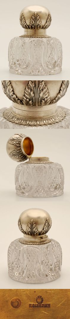 """Faberge Cut Glass and Silver Inkwell - A Faberge silver, parcel-gilt, and cut glass inkwell, Moscow, circa 1896-1908. The cylindrical glass body w' rounded shoulders, decorated with cut serpentine and diamond patterns, mounted with a spherical hinged silver lid worked with chased repousse acanthus leaves and an egg and dart collar. Dimensions: 5 3/4"""" H x 4 3/4"""" D (14.6 x 12.1 cm)♥❤♥"""