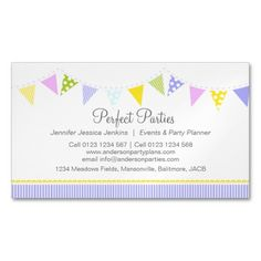 12 best event planner business cards images on pinterest business bunting party event planning business card wajeb Image collections
