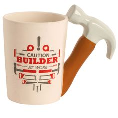 """Ceramic Handyman Tool Mug - """"Caution Builder At Work""""- Hammer - Great Father's Day Gift * Click image for more details."""
