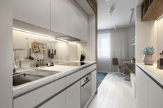 Small Apartments Under 30 Square Metre – One Light. The kitchen into Strong grey lines within the drawer pull recesses help guide the eye along both sides of the galley layout.