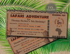 Safari Ticket Birthday Invitation *Baby Shower Invitation * Boarding Pass * Digital File * You Print by DIYPartyDesign on Etsy https://www.etsy.com/listing/203946601/safari-ticket-birthday-invitation-baby