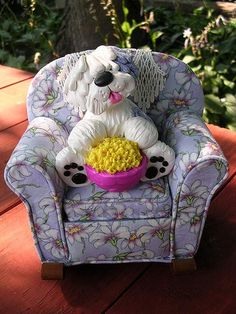 Handmade by CLAYKEEPSAKES from polymer clay (chair fabric)