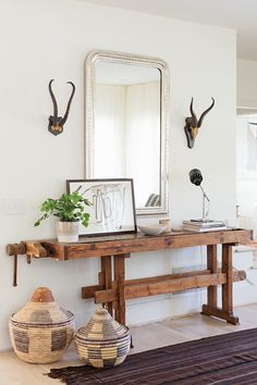 Scandinavian-style family home. Entry way with an antique work bench and Philippe mirror. Interior design: Fran Keenan of Fran Keenan Design. Interior Design Inspiration, Home Interior Design, Interior Decorating, Home Decor Bedroom, Entryway Decor, Entryway Ideas, Modern Decor, Rustic Decor, Entrance Hall Tables