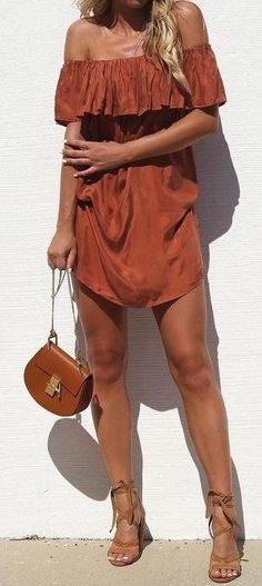 #summer #street #style | Rust Off The Shoulder Dress