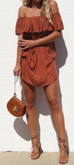 #summer #street #style   Rust Off The Shoulder Dress