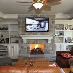 Stone Fireplace Built In Design Ideas, Pictures, Remodel, and Decor - page 6