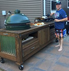 Griddle Table Griddle and Griddle / Kamado Combo Tables – Wood by Dana Related posts: DIY Outdoor Table DIY Outdoor Concrete Table – How to Build a Table with a Concrete Top Double Trestle Outdoor Table Outdoor Kitchen Bars, Backyard Kitchen, Outdoor Kitchen Design, Backyard Patio, Big Green Egg Outdoor Kitchen, Outdoor Kitchens, Big Green Egg Table, Green Egg Grill, Outdoor Grill Station