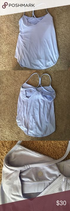 Lululemon purple tank top This purple striped tank is so fun and flattering for summer! Size 6 and only worn once. Recommended for someone with a smaller bust. lululemon athletica Tops Tank Tops
