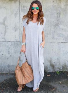 Gray Solid V Neck Short Sleeve Simple Maxi Dress Types Of Sleeves, Short Sleeves, Side Slit Maxi Dress, Petite Dresses, One Piece Swimwear, Silhouette, Asymmetrical Dress, Pullover, Daily Fashion
