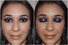 Make com sombra preta e pigmento azul