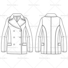 Women's Unlined Peacoat with Topstitching and Pockets Fashion Flat Template