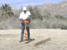 Lewis Multi Drill 8 inch earth auger drills large post hole for commercial construction. - YouTube
