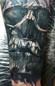Realism Skull Tattoo by Dmitry Vision - http://worldtattoosgallery.com/realism-skull-tattoo-by-dmitry-vision-2/