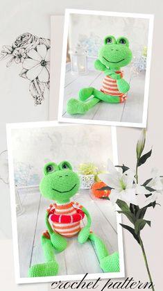 Crochet Frog, Crochet Round, Crochet Dolls, Single Crochet, Handmade Ideas, Handmade Crafts, Amigurumi Patterns, Crochet Patterns, Basic Crochet Stitches