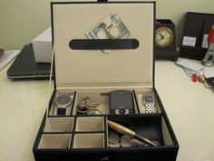 Black Men's 6 Compartment Valet Jewelry / Watch  Box  Dresser Wallet Tray  #mele