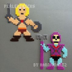He-Man & Skeletor Perler Bead magnet set Masters of by HarmonArt2