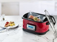 Gourmia GMC650R 11 in 1 Sous Vide & Multi Cooker - Red Stainless Steel with LCD Display Multiple Cooking Options, Bonus Accessories & Free Recipe Book // http://cookersreview.us/product/gourmia-gmc650r-11-in-1-sous-vide-multi-cooker-red-stainless-steel-with-lcd-display-multiple-cooking-options-bonus-accessories-free-recipe-book/  #cooker #pressure #electric