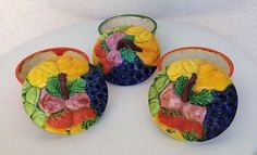 Vintage Fruit Theme Petite Pottery Bowls With Lids Made In Japan