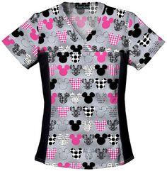 Tooniforms by Cherokee Women's Flexibles Toon Mickey Mouse Print Scrub Top Scrubs Outfit, Scrubs Uniform, Pediatric Scrubs, Pediatric Nursing, Disney Scrubs, Disney Shirts, Cute Scrubs, Cherokee Woman, Cherokee Scrubs